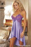 Женская ночная сорочка из атласа, украшенная нежным кружевом (фиолетовый)