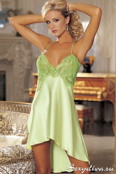 Женская ночная сорочка из атласа, украшенная нежным кружевом (зеленый)